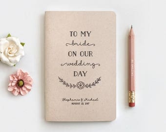 To My Bride on Our Wedding Day Notebook & Pencil Set - Wedding Gifts for Bride, Recycled Personalized Wedding Gift Ideas