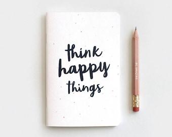 Think Happy Things Notebook Journal & Pencil Set - Midori Travelers Notebook Insert, Black Type Watercolor Dots, Stocking Stuffer