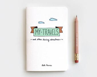 Travel Journal, Mint Midori Travelers Notebook & Pencil Gift Set, Personalized Journal, My Travels Daring Adventures