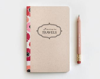 Personalized Gift, Travel Journal & Pencil - Christmas Gift Idea - Poppies Floral Journal, Brown Customized Personalized Stocking Stuffer