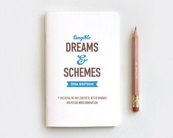 Notebook Gift Set, Gifts Under 10, Tangible Dreams and Schemes 2018 Notebook Journal & Pencil, 2018 Planner, Stocking Stuffer