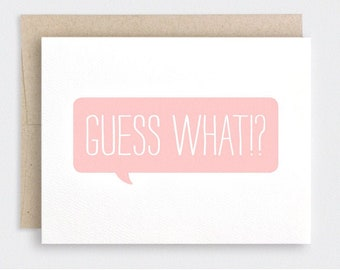 Valentine Card for Her - Guess What, You're My Favorite - Funny Cute Valentines Day Card, Birthday Card,  Speech Bubble Friendship Card