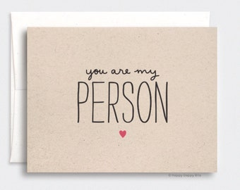 You're My Person Card - Valentines Day Gift for Him For Her Anniversary Card for Her, Brown Recycled Card, Red GW090