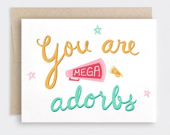 Funny Valentine Day Card for Him, Hand Lettered, You Are Mega Adorbs, Adorable Megaphone Loudspeaker - Cheerleader Adult Teens