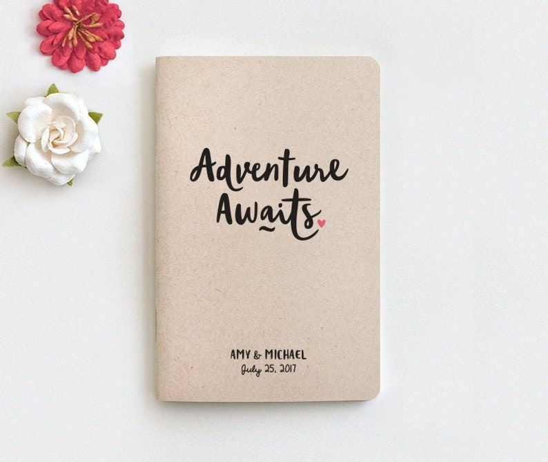 a1ab8126959de Adventure Awaits Personalized Mini Travel Journal, Personalized Wedding  Gift for Couple, Travel Notebook, Anniversary Engagement Gift