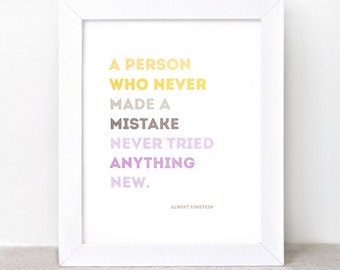 Typographic Print - 8x10 - Graduation Gift, Einstein, Mistake Quote - Color Block Yellow, Brown, Purple