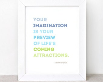 Inspirational Quote Art Print - 8 x 10 - Imagination, Einstein Quote - Eco-friendly Wall Art