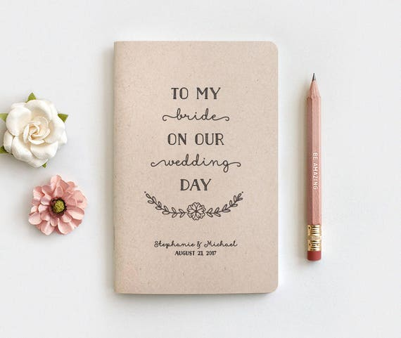 To My Bride On Our Wedding Day Notebook Pencil Set Wedding Etsy