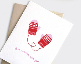 Christmas Card for Her - I'm Smitten with You - Punny Funny Anniversary Card, Valentine Mittens, Red Hearts Valentine Card