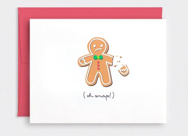 Lustige Weihnachtskarte Ach Schnapp gebrochen Lebkuchenmann | Etsy