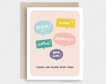 SECONDS SALE / Imperfect / Mother's Day Gift Handmade, Blush Pink Mothers Day Card Funny - Speech Bubbles, Thanks for Always Being There