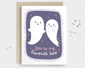 You're My Boo Card, Cute Ghost Card, Halloween Love Card for Her, You're my Favorite Boo, Galaxy Recycled Card