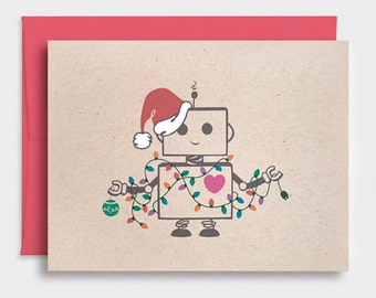 Funny Christmas Card, Cute Robot Santa Kawaii Holiday Card with Festive Lights - Hand Painted Hat, Brown Recycled Card