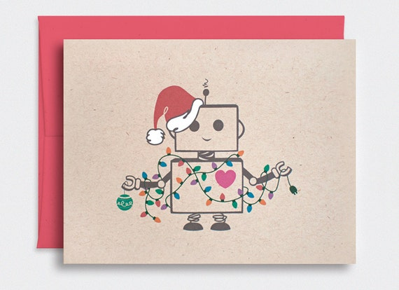 Cute Christmas Cards.Funny Christmas Card Cute Robot Santa Kawaii Holiday Card With Festive Lights Hand Painted Hat Brown Recycled Card Hd005