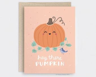 Hey There Pumpkin Card - Illustrated Autumn Card, Pumpkin Halloween Card, Cute Fall Card, Fall Hello Card, Fall Love Card, Blue Jay