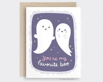 You're my Favorite Boo Cute Ghost Card, Galaxy Halloween Love Card - October Birthday Recycled Card