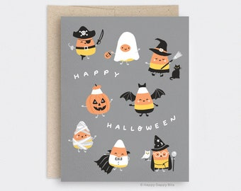 Halloween Candy Corn Card, Funny Happy Halloween Card Decor, Candy Corn Costume Card, Recycled Card