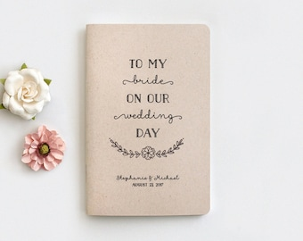 """Vow Books Personalized Wedding Gift, To My Bride on Our Wedding Day Mini Notebook - Wedding Gifts for Bride, Recycled 5.25x3.5"""", MJ059"""