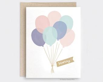 Watercolor Birthday Card, Balloon Birthday Card, Illustrated Hooray Congrats Card, Cute Birthday Card, Recycled Card