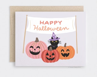 Halloween Card Funny, Recycled Black Cat Card, Cute Carved Pumpkin Patch Card, Halloween Decor Witchy Wizard