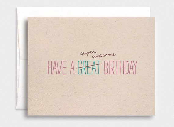 Funny Birthday Card For Her Cute Typography Super