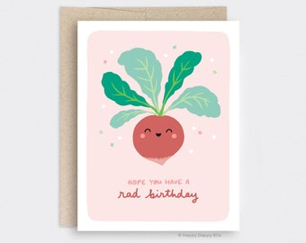 Cute Birthday Card Funny - Illustrated Radish Happy Birthday Food Pun Card - Hope You Have a Rad Birthday - Kawaii Vegetable Card, Recycled