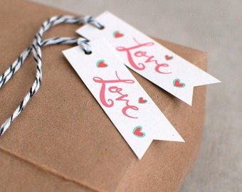 Wedding Gift Tags Hand Lettered Love Set of 12 - Party Favor Tags, Valentine Gift Tags, Recycled Gift Tags - Eco Friendly Gifts - Pink Black
