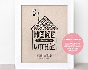 Wedding Gift Personalized - Home is Wherever Im With You Art Print 8x10, Engagement Gift for Couple, Hand Painted Illustrated Print
