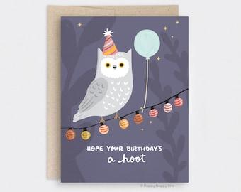 Owl Birthday Card, Cute Punny Fall Halloween Birthday Card - Hope Your Birthdays a Hoot - Night Sky Party String Lights Recycled Card HD035