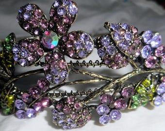 HAPACHICO LUPITA Headband Pansy Flower Purple Pink Gold Metal Rhinestones  Green