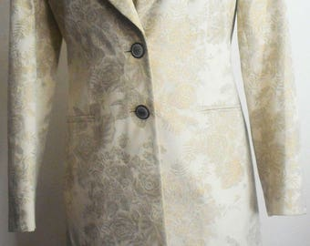 ESCADA Vintage 1990s Dress Suit 6 36 Shift Beige Gold Brocade Jacket Hapachico