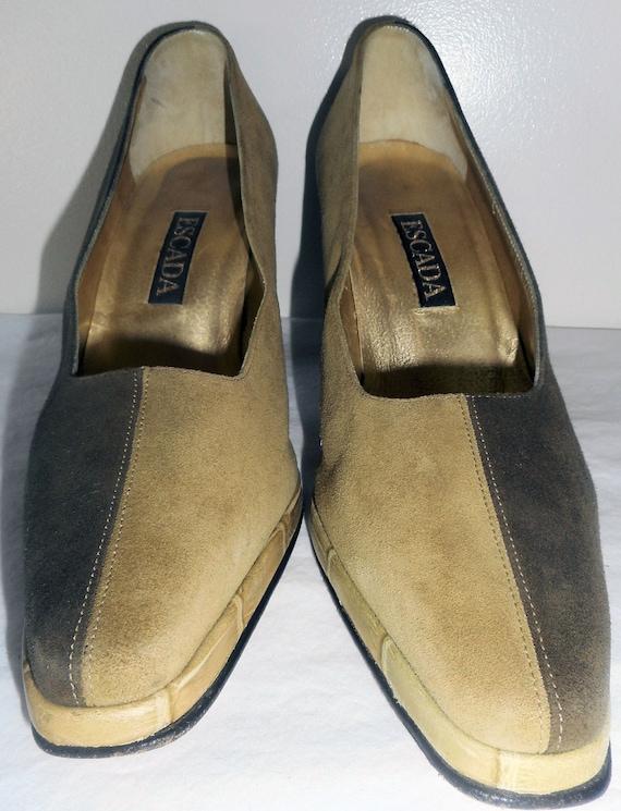 ESCADA Vintage Shoes Pumps Heels 6.5 36.5 Olive Mo