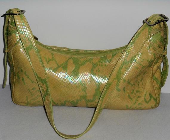 ESCADA Vintage 1990s Hobo Hand Bag Purse Lime Gree