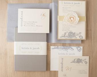 Gold wedding invite | Etsy
