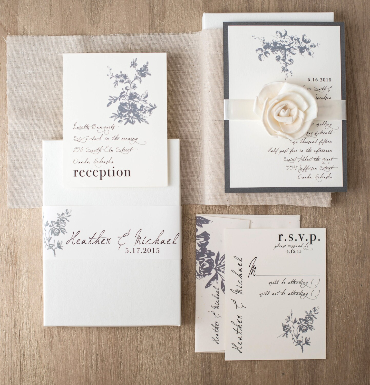 Rustic Ivory Wedding Invitations Elegant Boxed Wedding