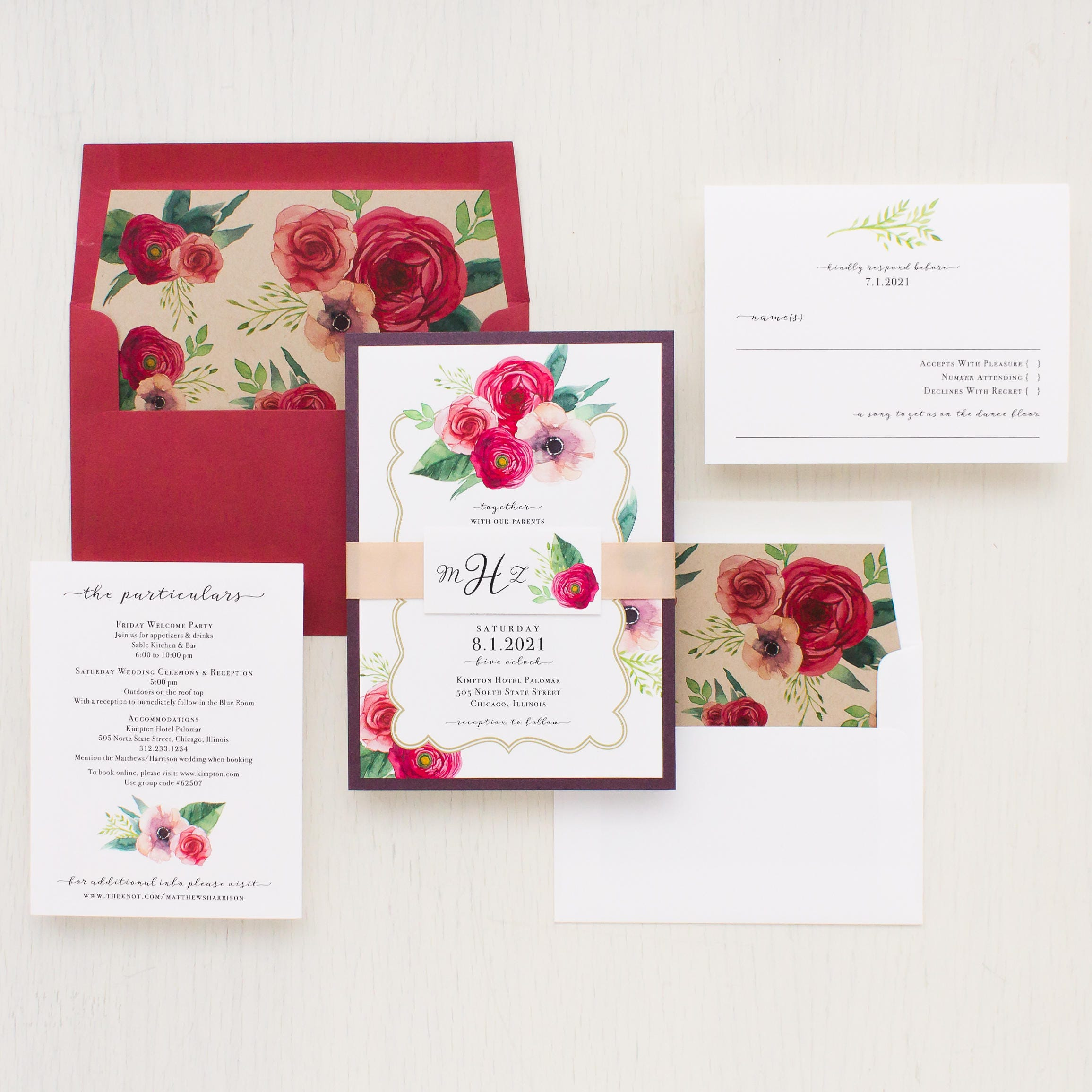 Floral Classic Wedding Invitations Garden Roses Taupe Red | Etsy