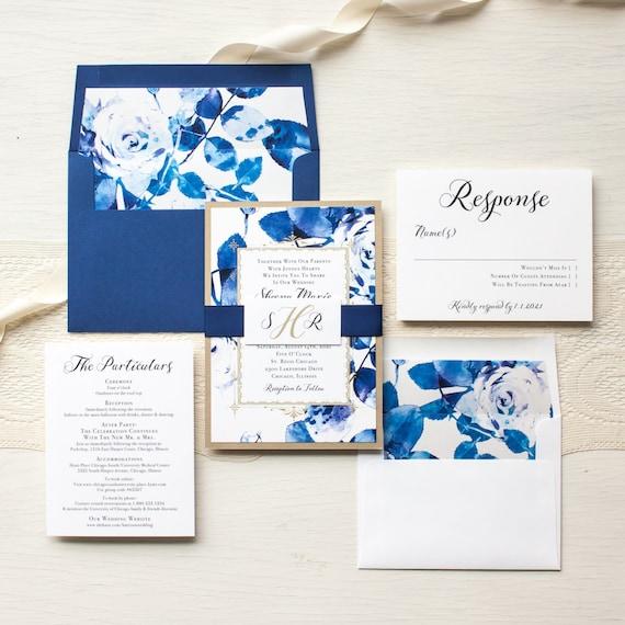 Royal Blue Wedding Invitations Modern Wedding Invites Gold Etsy