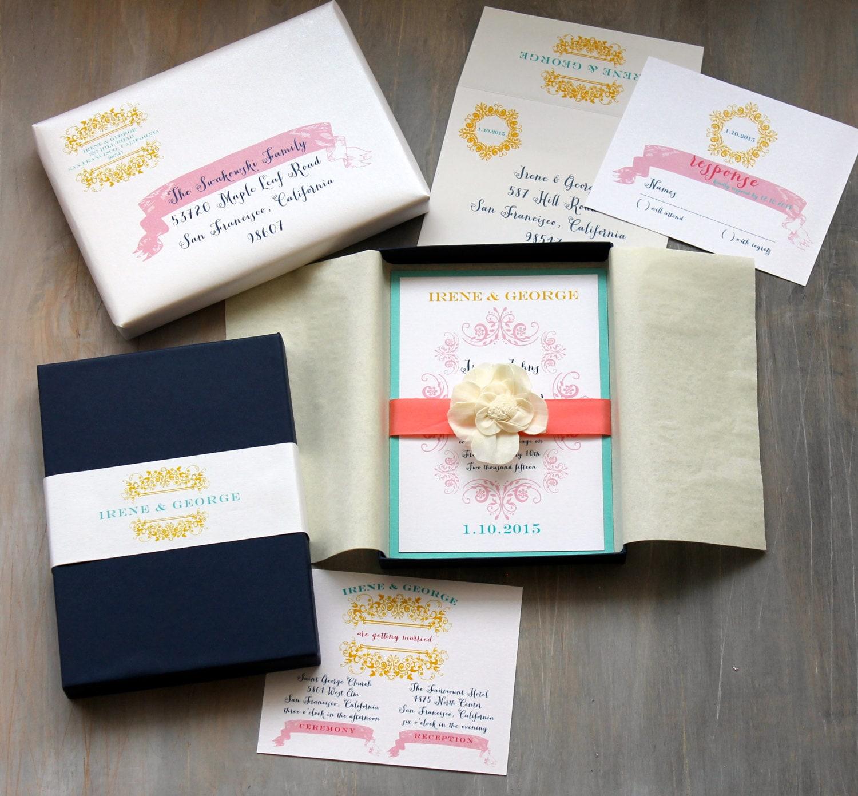 Etsy Beach Wedding Invitations: Boxed Wedding Invitations Modern Beach Wedding Invitation