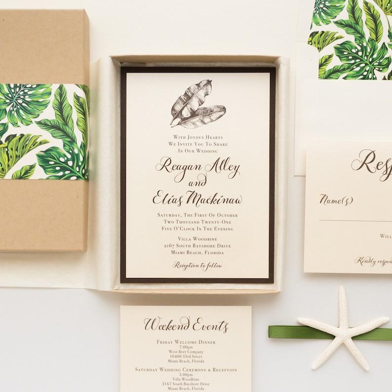 Elegant Destination Wedding Invitations, Tropical leaves, starfish -