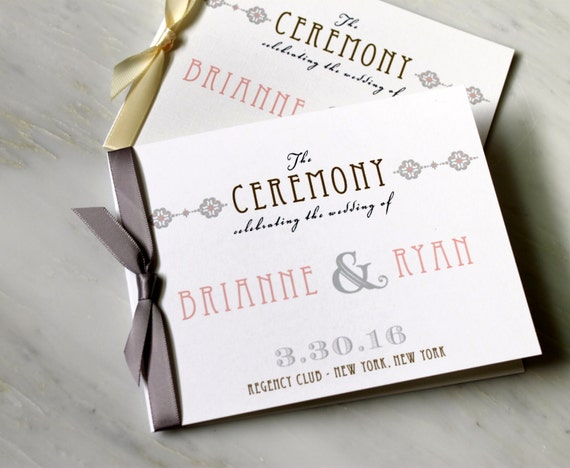 elegant ceremony programs small wedding ceremony booklet with etsy