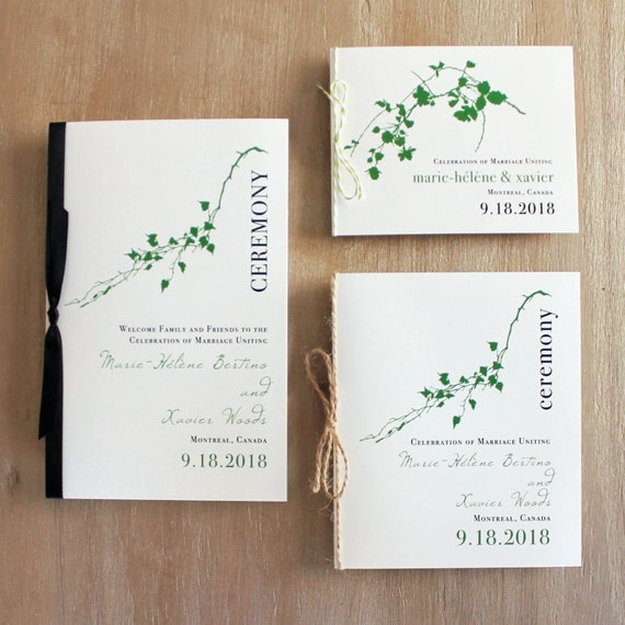garden wedding program with natural motifs green vines or etsy