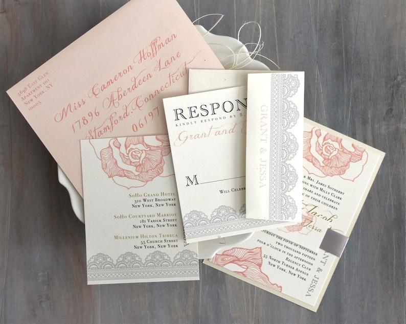 Lace Wedding Invitation Blush Peach Pink Wedding image 0