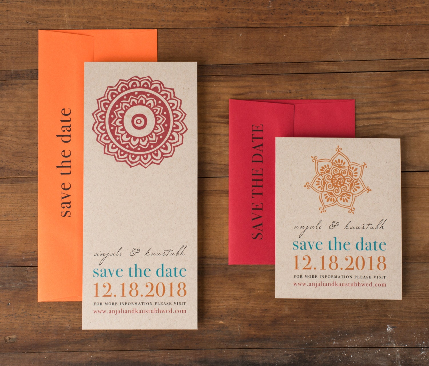 Modern Indian Wedding Save the Dates Unique Save the Date | Etsy