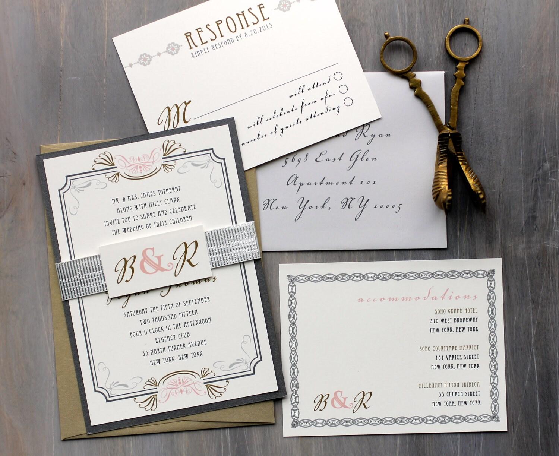 Deco Wedding Invitations: Art Deco Elegant Script Wedding Invitations Old Hollywood