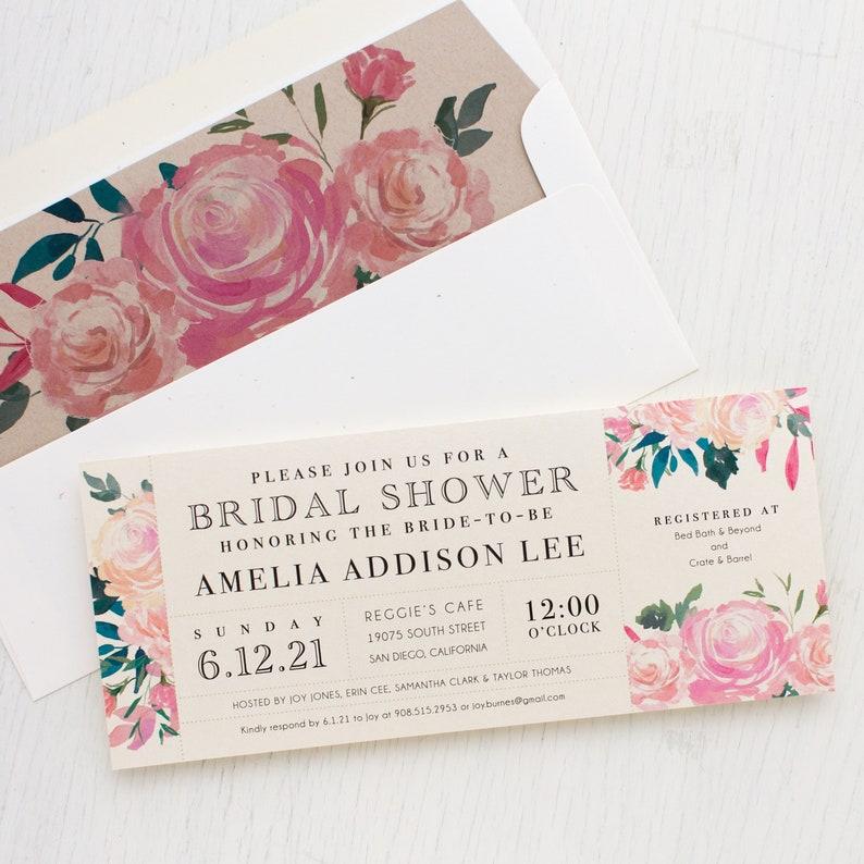Unique Bridal Shower 3.00each Pink Watercolor Boho Shower Card with Matching Envelope Liner Pink Floral Bridal Shower Invitation