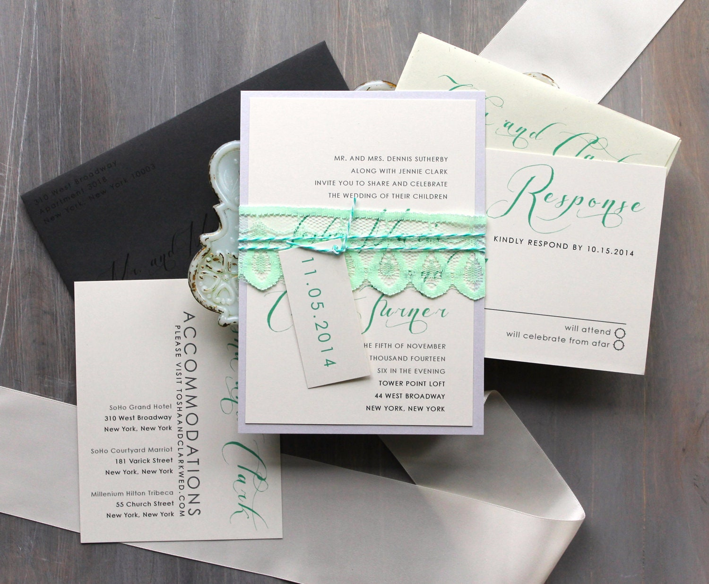 Elegant Script Wedding Invitations Mint Green And Gray Etsy
