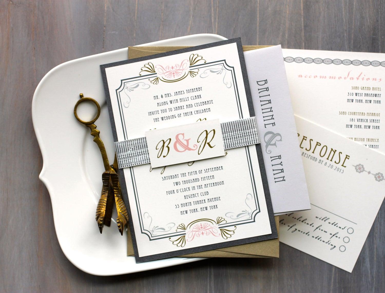 Art Deco Wedding Invitations Modern Gold And Silver Wedding Etsy