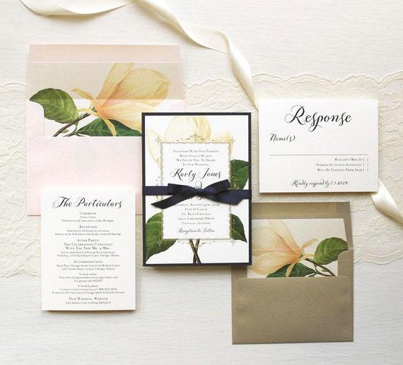 Navy Blue And Ivory Wedding Invitations: Ivory And Navy Magnolia Wedding Invitations Gold Blush