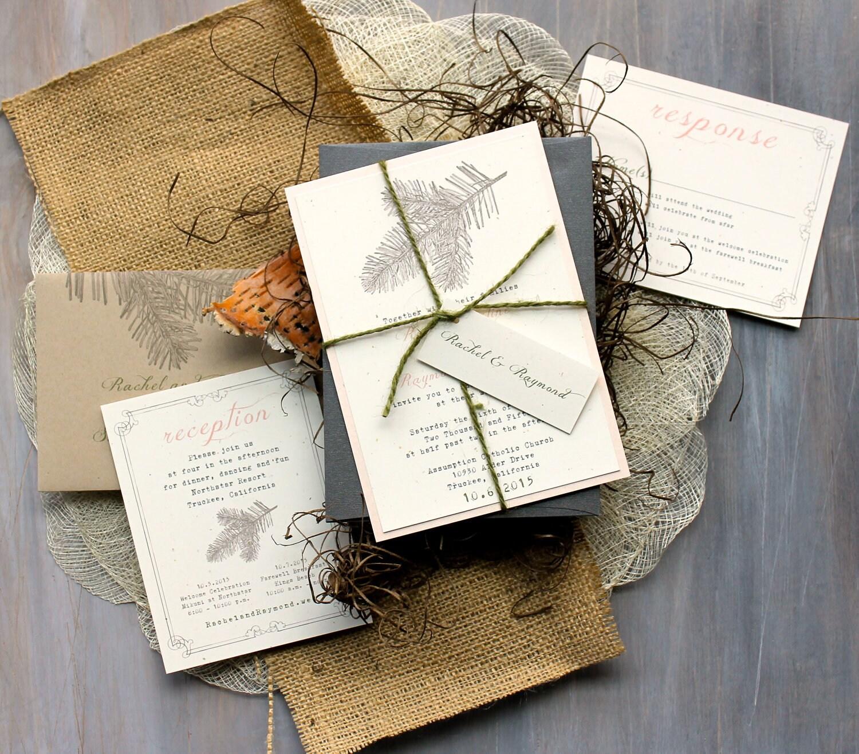 Rustic Wedding Invitations: Rustic Elegant Wedding Invitations Peach Wedding