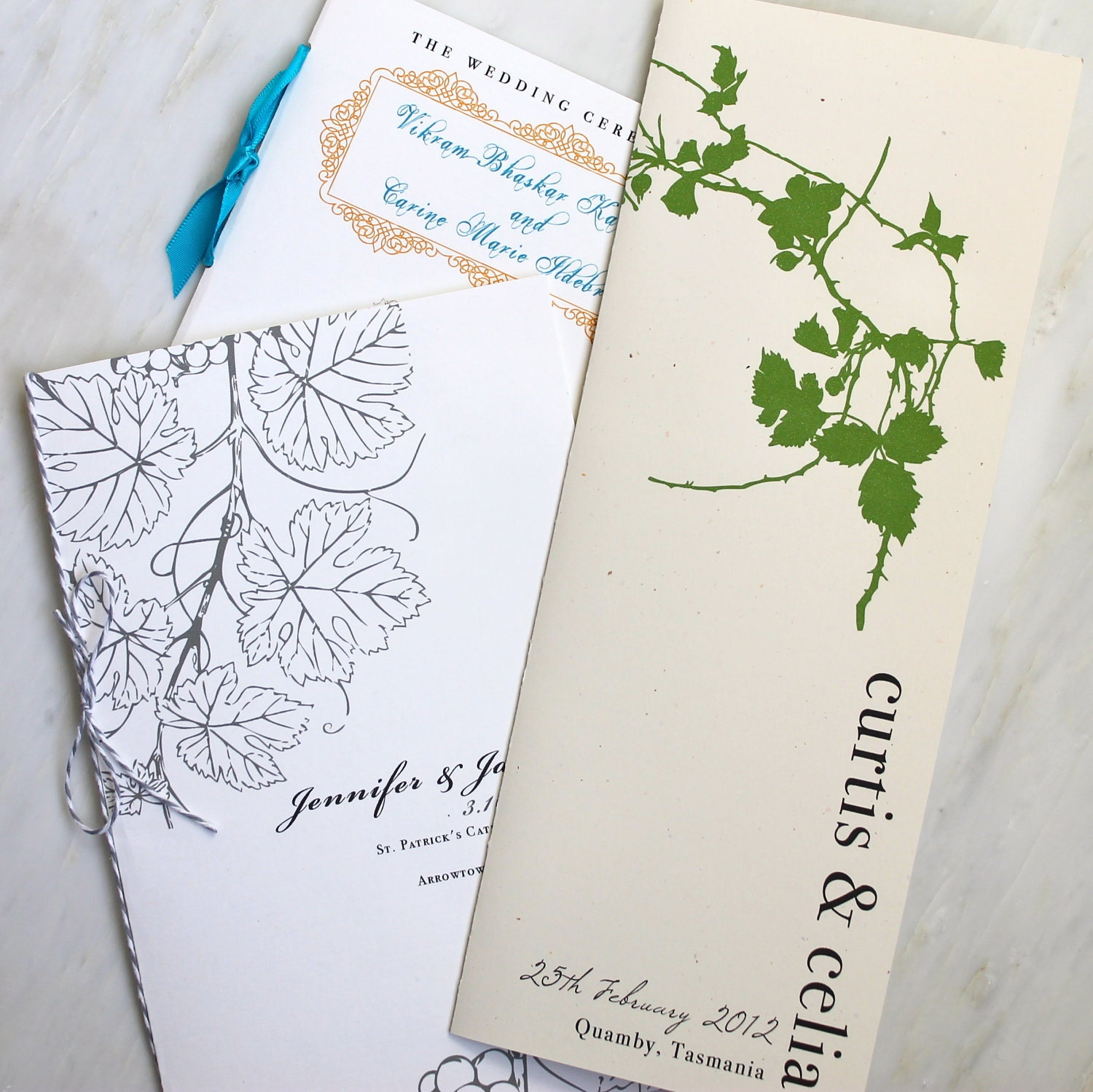 Wedding Ceremony Programs Booklet Fan Flat With Ribbon Or
